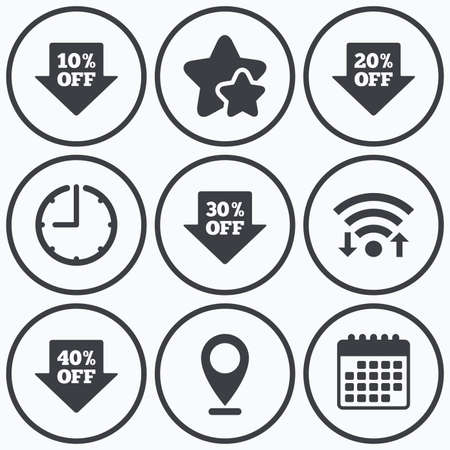 thirty percent off: Clock, wifi and stars icons. Sale arrow tag icons. Discount special offer symbols. 10%, 20%, 30% and 40% percent off signs. Calendar symbol.