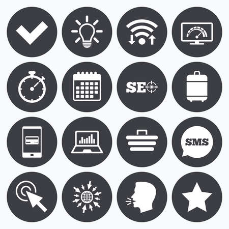 bandwidth: Wifi, calendar and mobile payments. Internet, seo icons. Bandwidth speed, online shopping and tick signs. Favorite star, notebook chart symbols. Sms speech bubble, go to web symbols.