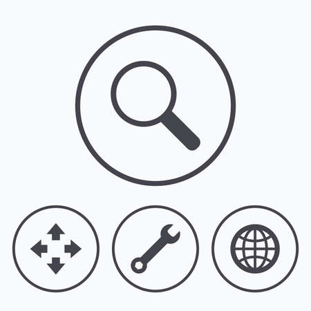 fullscreen: Magnifier glass and globe search icons. Fullscreen arrows and wrench key repair sign symbols. Icons in circles.
