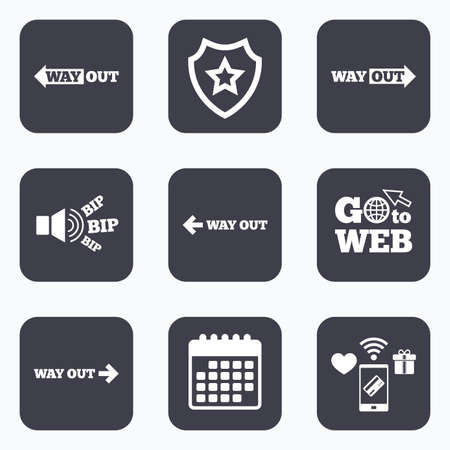 escape route: Mobile payments, wifi and calendar icons. Way out icons. Left and right arrows symbols. Direction signs in the subway. Go to web symbol. Illustration