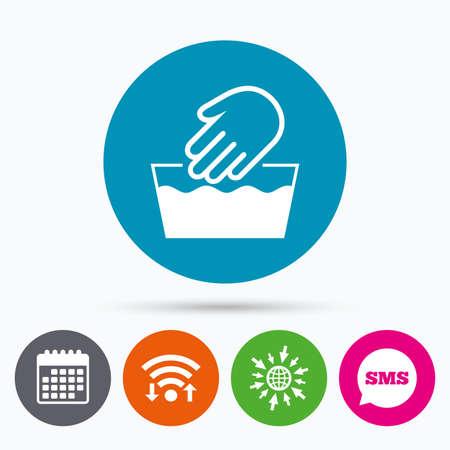 Wireless-LAN, Sms und Kalenderikonen. Handwäsche Zeichen-Symbol. Nicht maschinenwaschbar Symbol. Zum Web-Welt. Vektorgrafik