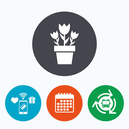 macro flowers: Flowers in pot icon. Bouquet of roses. Macro sign. Mobile payments, calendar and wifi icons. Bus shuttle.