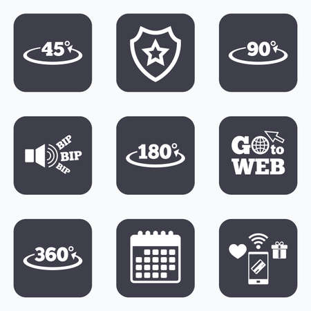 acute angle: Mobile payments, wifi and calendar icons. Angle 45-360 degrees icons. Geometry math signs symbols. Full complete rotation arrow. Go to web symbol. Illustration