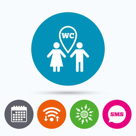 lavatory: Wifi, Sms and calendar icons. WC Toilet sign icon. Restroom or lavatory map pointer symbol. Go to web globe.