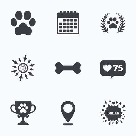 treat like a dog: Calendar, like counter and go to web icons. Pets icons. Dog paw sign. Winner laurel wreath and cup symbol. Pets food. Location pointer. Illustration