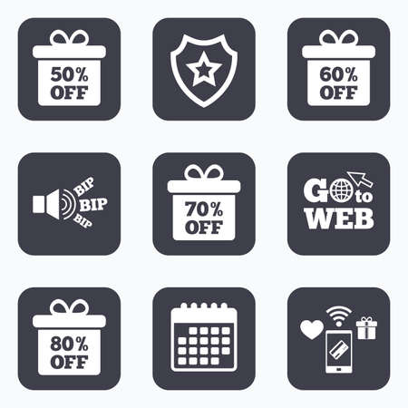 best protection: Mobile payments, wifi and calendar icons. Sale gift box tag icons. Discount special offer symbols. 50%, 60%, 70% and 80% percent off signs. Go to web symbol.