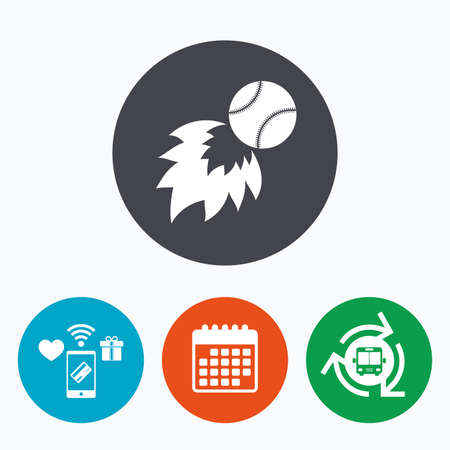 fireball: Baseball fireball sign icon. Sport symbol. Mobile payments, calendar and wifi icons. Bus shuttle. Illustration