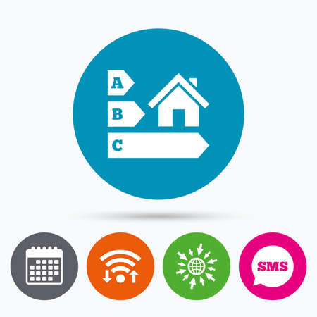 economy class: Wifi, Sms and calendar icons. Energy efficiency sign icon. House building symbol. Go to web globe.