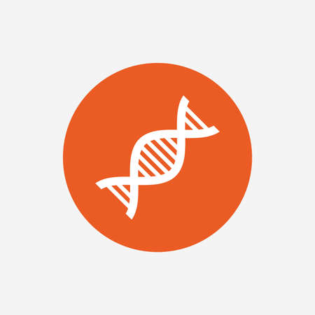 deoxyribonucleic: DNA sign icon. Deoxyribonucleic acid symbol. Orange circle button with icon. Vector Illustration