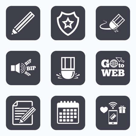 Paiements mobiles, wifi et icônes de calendrier. Icône de crayon. Modifier le fichier document Signe de gomme. Corriger le symbole de dessin. Aller au symbole web.