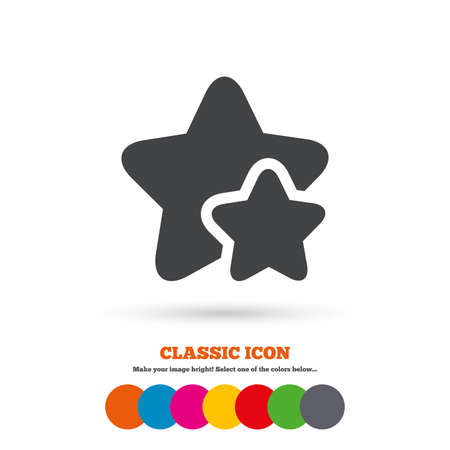 best rated: Star icon. Favorite sign. Best rated symbol. Classic flat icon. Colored circles. Illustration
