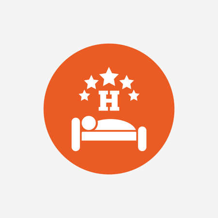 sleeper: Five star Hotel apartment sign icon. Travel rest place. Sleeper symbol. Orange circle button with icon. Vector