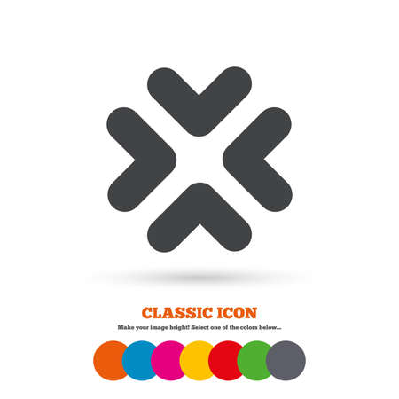 enlarge: Enlarge or resize icon. Full Screen extend symbol. Classic flat icon. Colored circles.