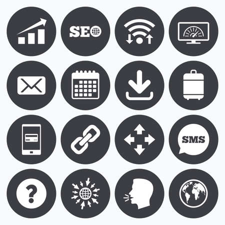 bandwidth: Wifi, calendar and mobile payments. Internet, seo icons. Bandwidth speed, download arrow and mail signs. Hyperlink, monitoring symbols. Sms speech bubble, go to web symbols. Illustration