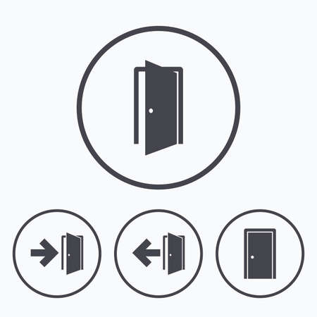 fire exit: Doors icons. Emergency exit with arrow symbols. Fire exit signs. Icons in circles.
