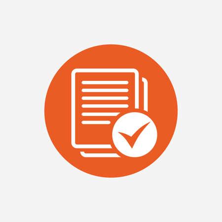 check icon: Text file sign icon. Check File document symbol. Orange circle button with icon. Vector