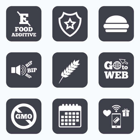 stabilizers: Mobile payments, wifi and calendar icons. Food additive icon. Hamburger fast food sign. Gluten free and No GMO symbols. Without E acid stabilizers. Go to web symbol. Illustration