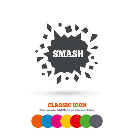 smash: Cracked hole icon. Smash or break symbol. Classic flat icon. Colored circles.