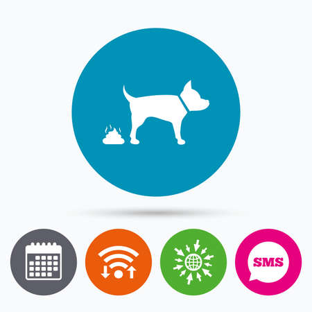 feces: Wifi, Sms and calendar icons. Feces sign icon. Clean up after pets symbol. Put it in the bag. Go to web globe.