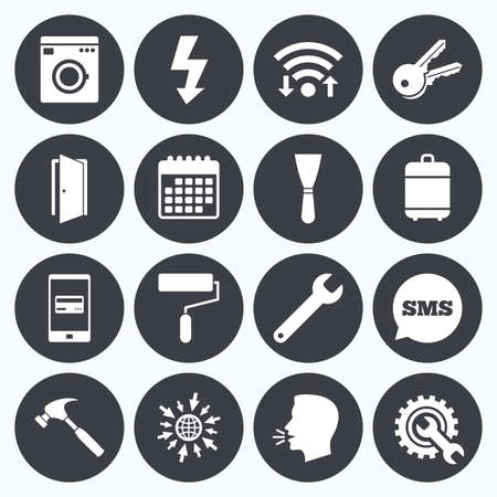 electric dryer: Wifi, calendar and mobile payments. Repair, construction icons. Electricity, keys and hammer signs. Door, washing machine and service symbols. Sms speech bubble, go to web symbols.