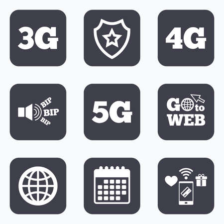 three generations: Mobile payments, wifi and calendar icons. Mobile telecommunications icons. 3G, 4G and 5G technology symbols. World globe sign. Go to web symbol. Illustration