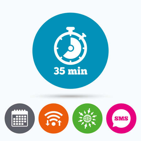 35: Wifi, Sms and calendar icons. Timer sign icon. 35 minutes stopwatch symbol. Go to web globe.
