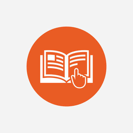 instruction: Instruction sign icon. Manual book symbol. Read before use. Orange circle button with icon. Vector Illustration