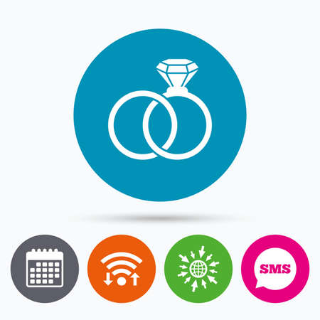 web engagement: Wifi, Sms and calendar icons. Wedding rings sign icon. Engagement symbol. Go to web globe.