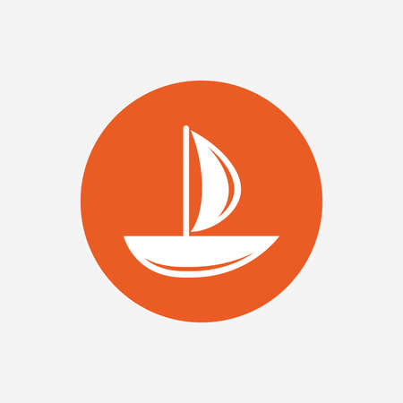 ship sign: Sail boat icon. Ship sign. Shipment delivery symbol. Orange circle button with icon. Vector