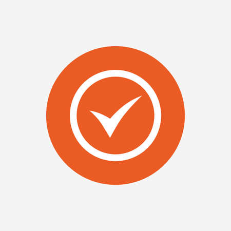 Check mark sign icon. Yes circle symbol. Confirm approved. Orange circle button with icon. Vector Illustration