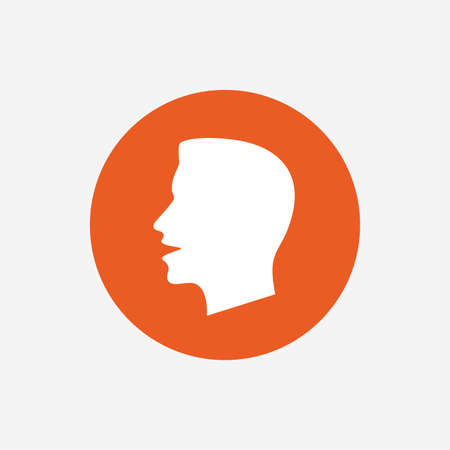loud noise: Talk or speak icon. Loud noise symbol. Human talking sign. Orange circle button with icon. Vector