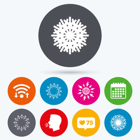 new year counter: Wifi, like counter and calendar icons. Snowflakes artistic icons. Air conditioning signs. Christmas and New year winter symbols. Frozen weather. Human talk, go to web. Illustration