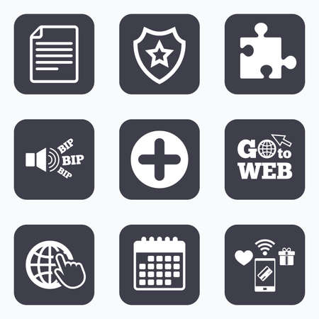 puzzle corners: Mobile payments, wifi and calendar icons. Plus add circle and puzzle piece icons. Document file and globe with hand pointer sign symbols. Go to web symbol. Illustration