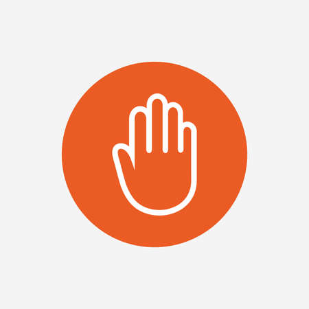 give me five: Hand sign icon. No Entry or stop symbol. Give me five. Orange circle button with icon. Vector Illustration