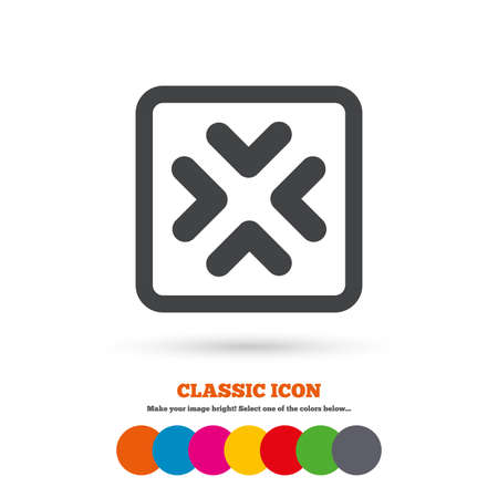 resize: Enlarge or resize icon. Full Screen extend symbol. Classic flat icon. Colored circles.
