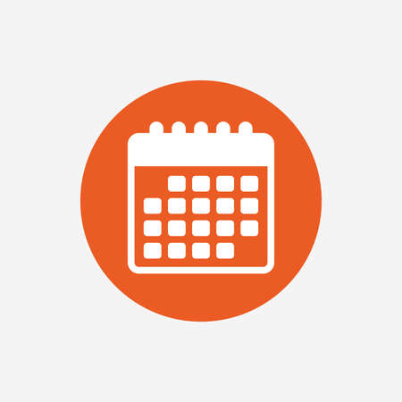 Calendar icon. Event reminder symbol. Orange circle button with icon. Vector