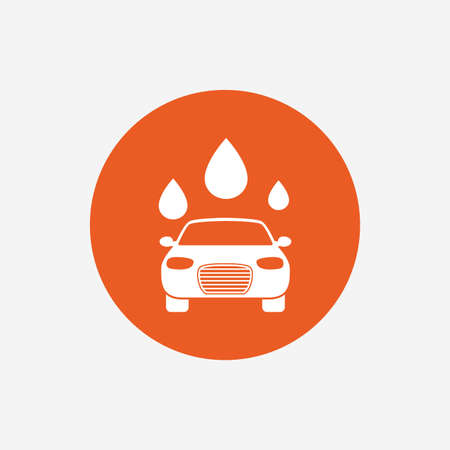 car wash: Car wash icon. Automated teller carwash symbol. Water drops signs. Orange circle button with icon. Vector