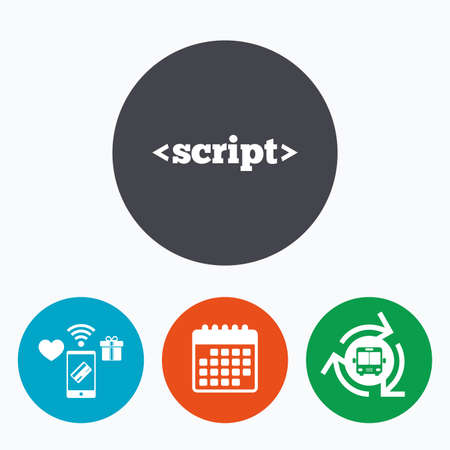 javascript: Script sign icon. Javascript code symbol. Mobile payments, calendar and wifi icons. Bus shuttle.