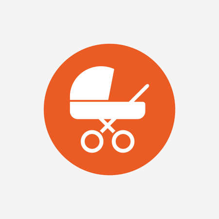 vector button: Baby pram stroller sign icon. Baby buggy. Baby carriage symbol. Orange circle button with icon. Vector Illustration