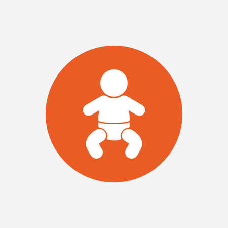 baby toilet: Baby infant sign icon. Toddler boy with diapers symbol. Child WC toilet. Orange circle button with icon. Vector Illustration
