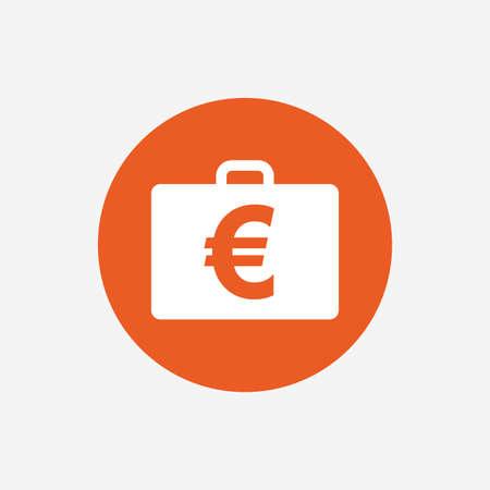 eur: Case with Euro EUR sign icon. Briefcase button. Orange circle button with icon. Vector