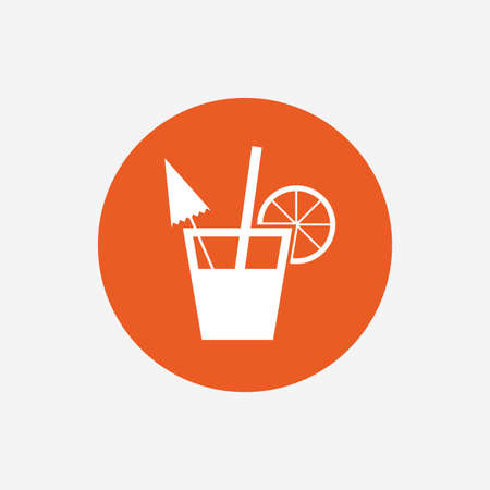 alcoholic drink: Cocktail sign. Alcoholic drink symbol. Orange circle button with icon. Vector Illustration