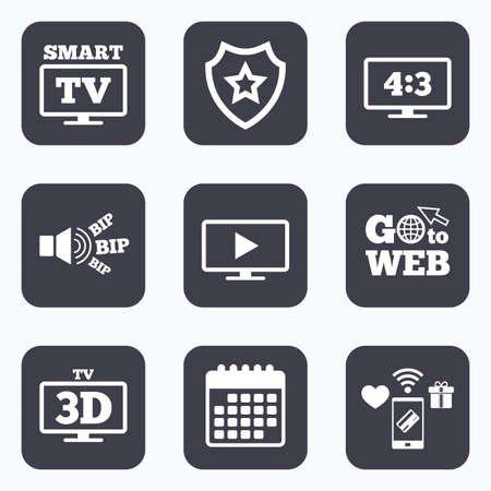 3d mode: Mobile payments, wifi and calendar icons. Smart TV mode icon. Aspect ratio 4:3 widescreen symbol. 3D Television sign. Go to web symbol.