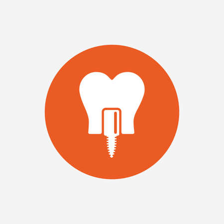 stomatologist: Tooth implant icon. Dental endosseous implant sign. Dental care symbol. Orange circle button with icon. Vector