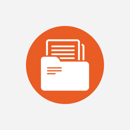 bookkeeping: Document folder sign. Accounting binder symbol. Bookkeeping management. Orange circle button with icon. Vector Illustration