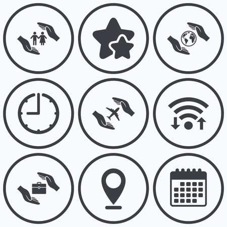 best shelter: Clock, wifi and stars icons. Hands insurance icons. Human life insurance symbols. Travel flight baggage symbol. World globe sign. Calendar symbol.