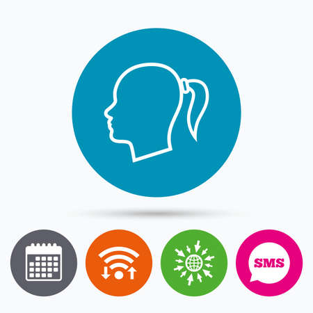 pigtail: Wifi, Sms and calendar icons. Head sign icon. Female woman human head with pigtail symbol. Go to web globe.