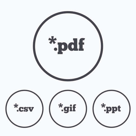csv: Document icons. File extensions symbols. PDF, GIF, CSV and PPT presentation signs. Icons in circles.