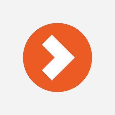 next button: Arrow sign icon. Next button. Navigation symbol. Orange circle button with icon. Vector Illustration