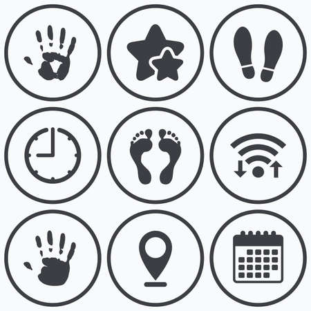 do not enter sign: Clock, wifi and stars icons. Hand and foot print icons. Imprint shoes and barefoot symbols. Stop do not enter sign. Calendar symbol. Illustration
